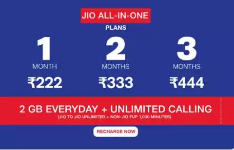 रिचार्ज करवाने से पहले जानिए Jio के ₹222, ₹333 और ₹444 वाले नए प्लान के बारे में